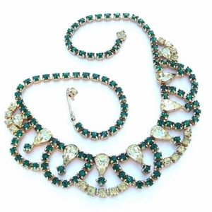 Rhinestone Necklace Emerald Green Vintage Jewelry